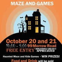 halloween party and haunted maze