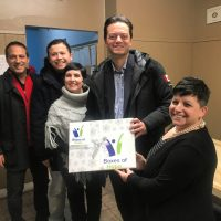 (Former councillor Arif Khan,  Ward 9 councillor Sergio Morales,  Ward 6 councillor Natalie Harris,  Mayor Jeff Lehman,  YH executive director Lucy Gowers)