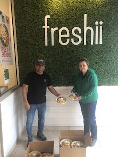 Freshii's Salim Bardai and Stacey, Youth Haven's RentSmart program coordinator.