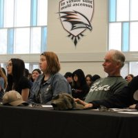 The judges of last year's Youth and Philanthropy Initiative presentations at Orillia Secondary School are shown. Nathan Taylor/OrilliaMatters file photo
